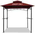Easylee Grill Gazebo Shelter Replacement Canopy 5'x8' Double Tiered Burgundy