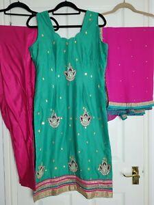 3 Piece Indian Salwar Kameez Party wear Size Small 10 Pink and Green Punjabi