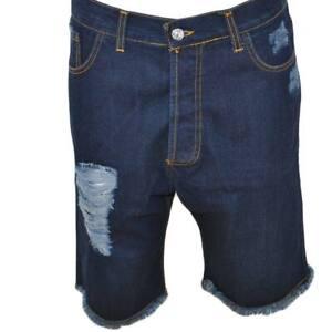 Pantaloncino jeans shorts da uomo man moda giovane denim strappato linea cavallo