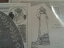 """PATRON ORIGINAL POUR LA POUPEE BLEUETTE """" ROBE  DE MARIEE & SON VOILE BRODE 1912"""