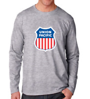 Union Pacific Railroad Tee Shirt American Rail Train Gray Long Sleeve T-Shirt