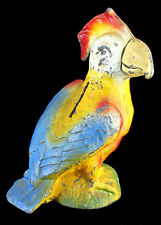 Antique Cast Iron Metal Figural Piggy Still Bank Bright Color Parrot Bird 5""