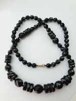 "Lovely Art Deco 1930s 24.5"" Black French Jet Faceted Graduated Beaded Necklace"