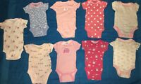 Lot Of 9 Baby Girls One Piece Tops 0-3 Months - Great Condition!!