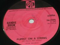 """Sandie Shaw:  Puppet on a String   orig 1967   7""""  EX (writing on label)"""