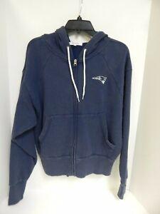 New England Patriots WOMENS Sweatshirt Full Zip Hooded Navy Touch Sample-Med