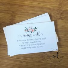 10 x WHITE Wishing Well Cards - Printed And Cut - Wedding Invitations - Inserts