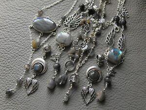 Various LABRADORITE gemstone moon necklace earrings pendant quartz lodolite