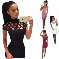 Womens Choker High Neck Bodycon Ladies Caged Sleeves Mini Dress Size 6 - 14