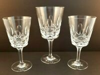 3 Gorham Crystal Wine Glasses -Windfield Pattern- Vintage Goblets signed