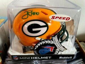 Jordan Love Packers Autographed Riddell Speed Mini Helmet GREEN INK Beckett COA