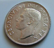 Canada 1952 50 Cents George VI Scarcer  Variety Double HP Lustrous Coin