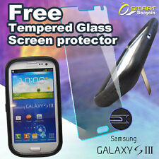 Heavy Duty stand case cover for Samsung Galaxy s3 i9300 + Free Tempered Glass SG