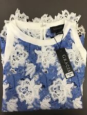 GRACIA White & Blue Floral Scalloped Lace Sleeveless Blouse $97 Size S NEW