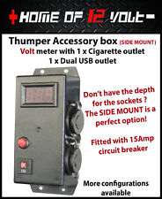 Thumper accessory box Volt meter SIDE ENTRY Cigarette Dual USB Surface mount 12V