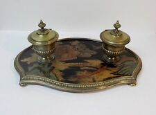 Antique French Chinoiserie Coromandel Lacquer & Bronze Inkstand, Inkwell