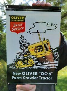 VINTAGE OLD OLIVER SALES SERVICE TRACTOR HEAVY METAL PORCELAIN FARM SIGN.