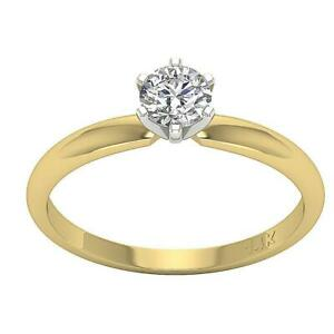 Solitaire Anniversary Ring SI1 G 0.40Carat Natural Round Cut Diamond Gold 4.80mm