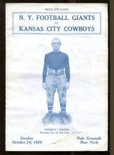 1926 New York Giants v Kansas City Cowboys Program 10/24 Polo Grounds Ex Rare