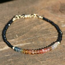Natural Black Spinel Rainbow Tourmaline Bracelet 14k Yellow Gold Filled Canada