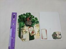 Christmas Holiday Card Wrapped Gift Present Green Bow Pinecone Matching Envelope