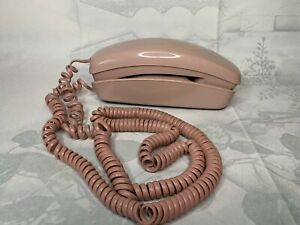 Vintage Trimline Rotary Dial Telephone Pink Mid Century Tested And Working
