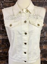 Forever 21 Ivory Denim Vest Large L Embroidered Gold Hardware Stretch Country