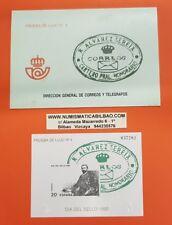 DIA DEL SELLO 1990 PRUEBA LUJO SOBRE EDIFIL Nº 20 SELLO ESPAÑA SEREIX MANCHITAS