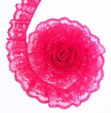 FUCHSIA PINK~3 Inch Wide Ruffled Floral Lace Trim~By 5 Yards