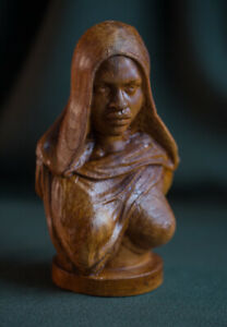 "Carved handmade bust ""African young woman"", real cherry-wood, big size"