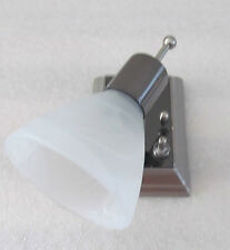 RV 12 Volt Nickel Smoke Frost Swirl Mini Glass Shade Directional Reading Light
