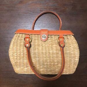Kate Spade Natura Wicker Tote Straw Handbag Basket Bag Purse Leather B0034