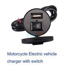 Wasserdicht 12V to 5V Motorrad USB HandyLadegerät Adapter mit Schalter Schwarz
