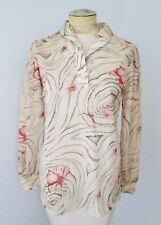 Vtg 70s Trissi Mod Brown Sheer Silky Coral Floral Disco Blouse Tunic Top M