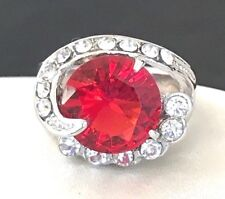 Cocktail Ring Huge Ruby Red Crystal Silver Rhodium Plate Ornate Classic 7.5 1b
