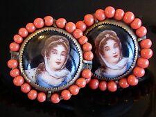 STRIKING PORCELAIN PORTRAIT EARRINGS CORAL ART GLASS BEAD FRAME CZECHOSLOVAKIA