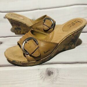 b.o.c JEANIE Floral Cork Wedge Sandals Tan Size 9 Leather Buckle