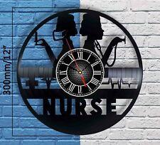 Personalized NURSE RN Gifts Vinyl Record Wall Clock Medical Symbol Sign Decor