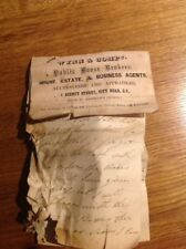 Vintage Business Card Wynn & Company Sidney Street Auctioneers & Letter 1865