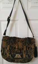 Juicy Couture Black Gold & Brown Snake Velour Handbag NWT YHRU3274