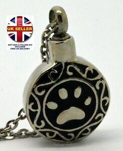 Cremation Urn Necklace - Keepsake Pendant Charm for Ashes - Tribal Paw Dog Cat
