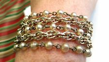 Star Signed 5 Strand Silver tone Faux Pearl Vintage Bracelet