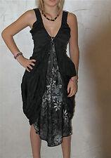 adorable vestido negro de seda viscosa HIGH USE talla 36/38 NUEVO S ETIQUETA