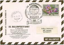 1965 Ballonpost n. 33 Pro Juventute Aerostato D-Ergee III Schmidbauer Riezelern