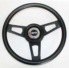 "1966 Chevelle Grant Black Steering Wheel with black spokes 13 3/4"" SS center cap"