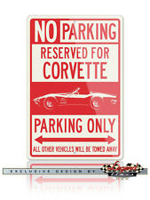 Chevrolet Corvette Convertible C3 Reserved Parking Only 12x18 Aluminum Sign