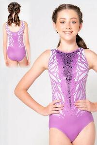NWT Sylvia P Lady Luck gymnastic dance leotard with black mirror sequins 12 yrs