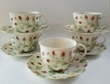 (5) Royal Stafford ALPINE STRAWBERRY Breakfast Cups and Saucers, England