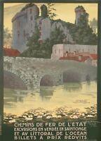 Affiche Originale - Geo Dorival - Chemins de Fer - Vendée - Clisson - 1920