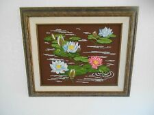 Framed Original Handmade Embroidery Piece, Floating Lillies, 25 x 21